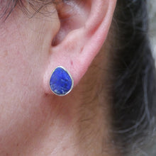 Load image into Gallery viewer, lapis lazuli silver stud earrings