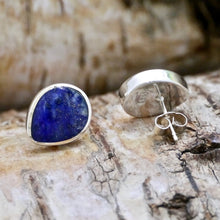 Load image into Gallery viewer, handmade lapis silver stud earrings