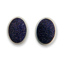 Load image into Gallery viewer, handmade blue goldstone silver stud earrings