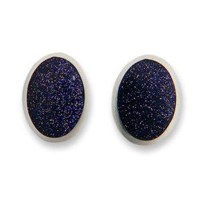handmade blue goldstone silver stud earrings
