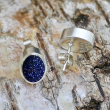 Load image into Gallery viewer, blue goldstone silver earrings by my handmade jewellery