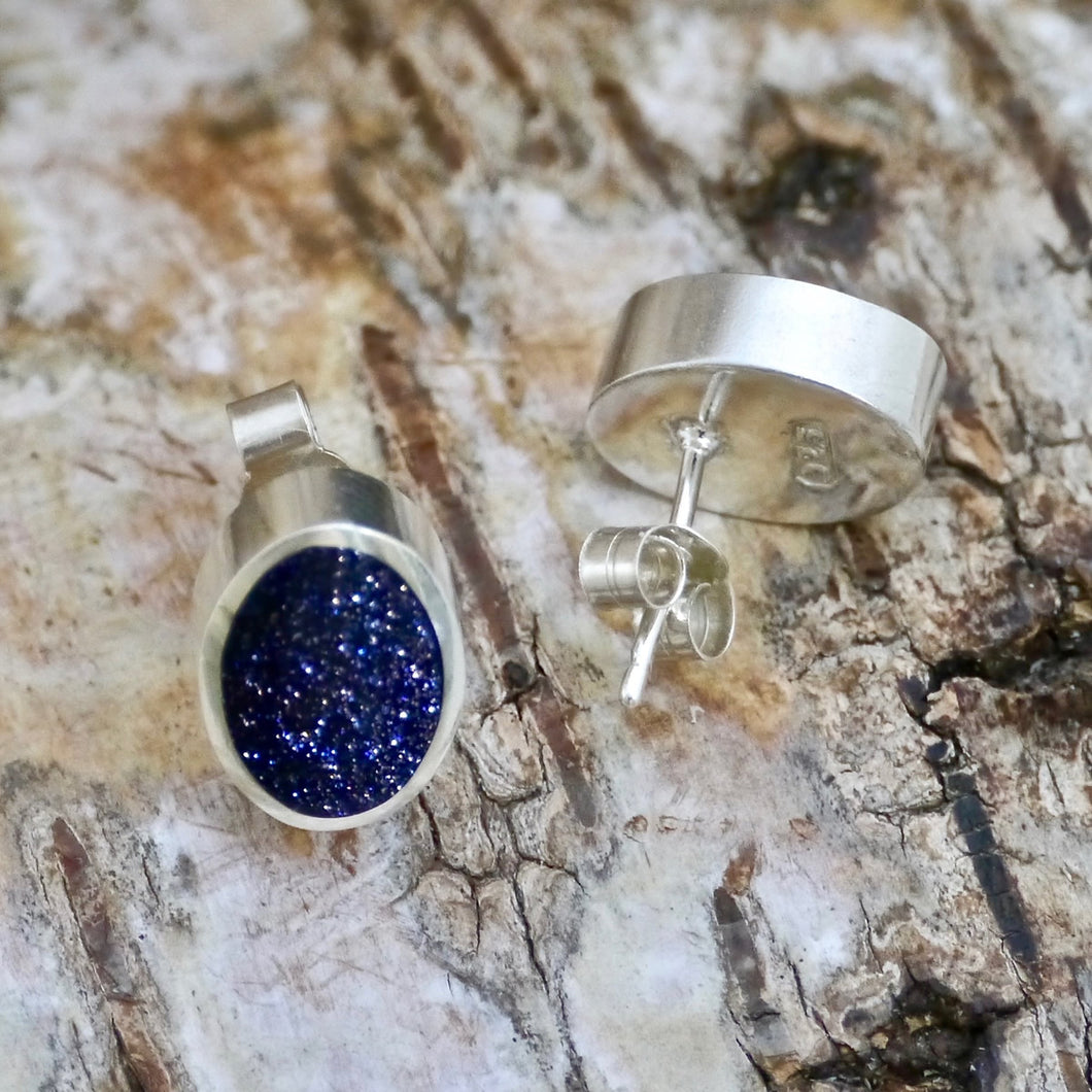 blue goldstone silver earrings by my handmade jewellery