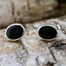 Load image into Gallery viewer, whitby jet silver stud earrings oval design by my handmade jewellery