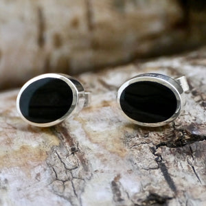 whitby jet silver stud earrings oval design by my handmade jewellery