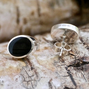 sterling silver stud earrings with whitby jet