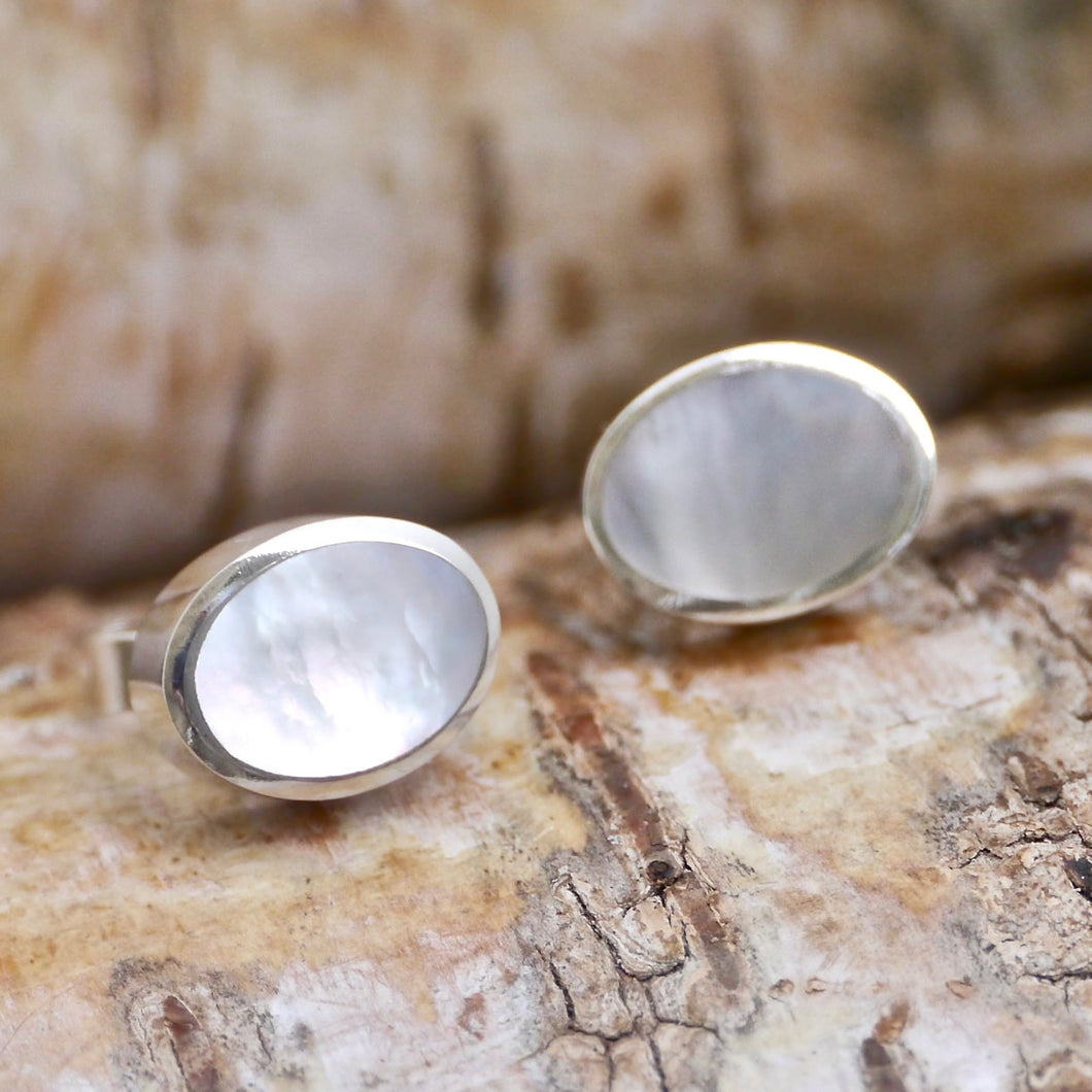 mother of pearl silver stud earrings by my handmade jewellery