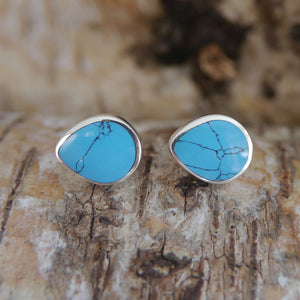 Turquoise Peardrop Stud Earrings