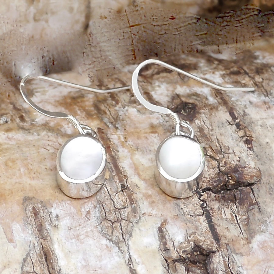 mother of pearl silver drop earrings by my handmade jewellery