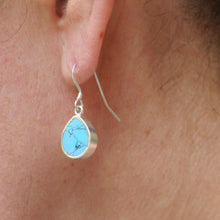 Load image into Gallery viewer, handmade turquoise silver earring