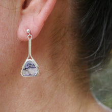 Load image into Gallery viewer, handmade blue john silver drop earring
