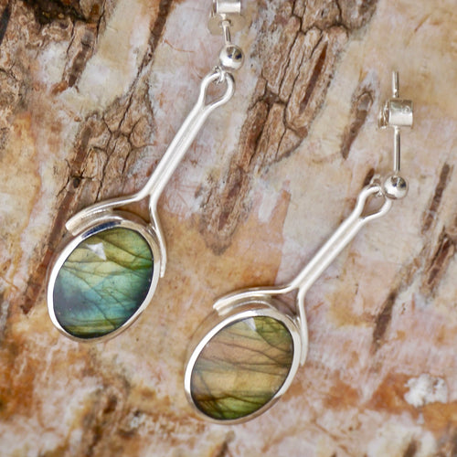 labradorite drop earrings with silver stem by my handmade jewellery