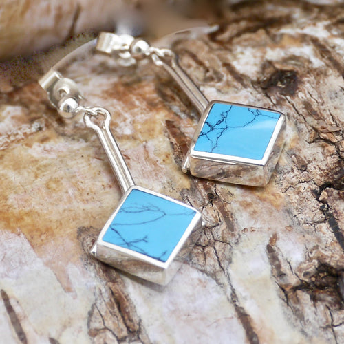 turquoise silver stem drop earrings by my handmade jewellery