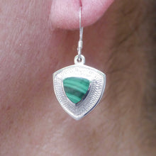 Load image into Gallery viewer, handmade malachite triangle silver drop earring