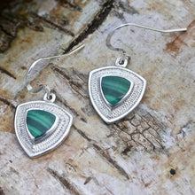 Load image into Gallery viewer, malachite silver drop earrings by my handmade jewellery