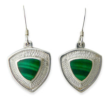 Load image into Gallery viewer, handmade malachite silver drop earrings triangle design