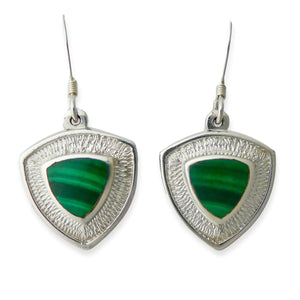 handmade malachite silver drop earrings triangle design