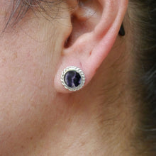Load image into Gallery viewer, handmade blue john silver stud earring