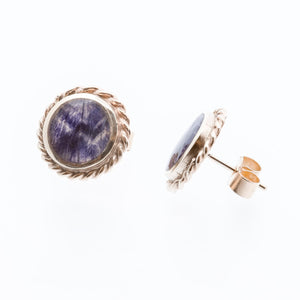 Blue John Stud Earrings in 9ct Gold