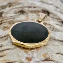 Load image into Gallery viewer, 9 carat gold whitby jet pendant with tigers eye handmade by designer Andrew Thomson