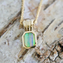 Load image into Gallery viewer, 9 carat gold pendant with opalite - handmade in the UK by designer Andrew Thomson
