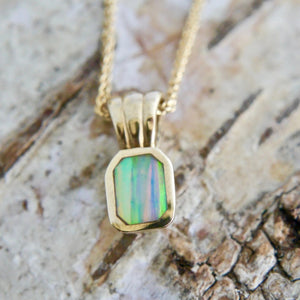 9 carat gold pendant with opalite - handmade in the UK by designer Andrew Thomson