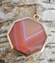 Load image into Gallery viewer, 9ct Gold Pink and Yellow Agate Reversible Pendant