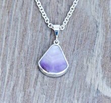 Load image into Gallery viewer, Mother of Pearl & Amethyst Reversible Pendant Fan Shape