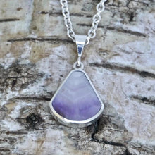Load image into Gallery viewer, amethyst lace pendant with mother of pearl on the reverse - my handmade jewellery