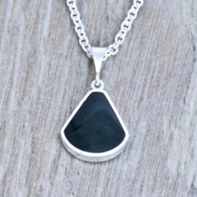 Load image into Gallery viewer, whitby jet and lapis lazuli pendant handmade in the UK