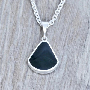 whitby jet and lapis lazuli pendant handmade in the UK