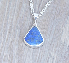 Load image into Gallery viewer, Lapis Lazuli & Jet Double Sided Pendant Fan Shape