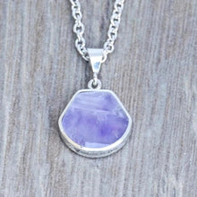 Load image into Gallery viewer, amethyst and mother of pearl silver pendant shell design - my handmade jewellery