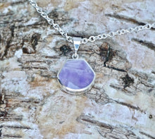Load image into Gallery viewer, Mother of Pearl & Amethyst Double Sided Pendant Shell Shape