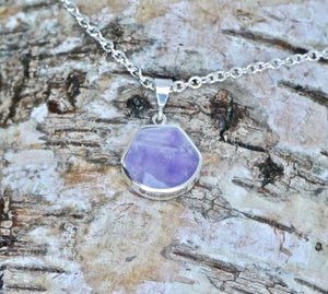 Mother of Pearl & Amethyst Double Sided Pendant Shell Shape