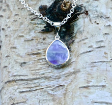 Load image into Gallery viewer, Turquoise and Amethyst Double Sided Pendant Pear Design