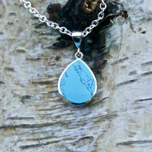 Load image into Gallery viewer, turquoise pendant with amethyst lace on the reverse - handmade in the UK