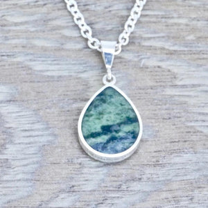 Connemara Marble & Labradorite Double Sided Pendant Pear Design