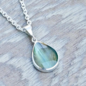 labradorite silver pendant with connemara - handmade in the UK
