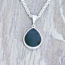 Load image into Gallery viewer, whitby jet pendant with blue john on the reverse - handmade in the UK
