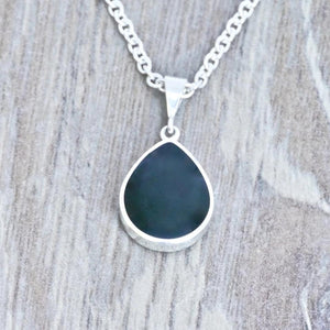 whitby jet pendant with blue john on the reverse - handmade in the UK