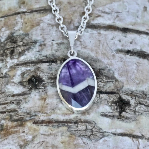 silver amethyst lace pendant - handmade in the UK