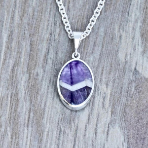 amethyst lace silver pendant - handmade in the UK