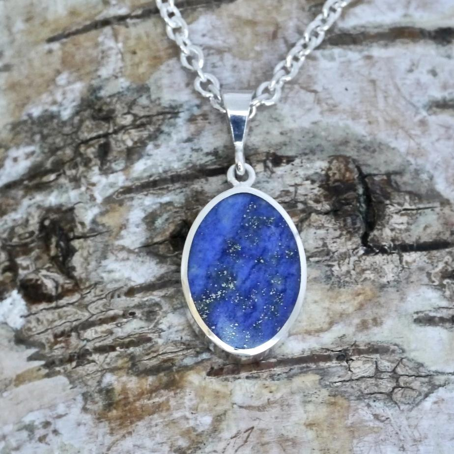 lapis lazuli silver pendant handmade in the UK