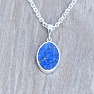 Lapis Lazuli & Blue John Double Sided Pendant Oval Design