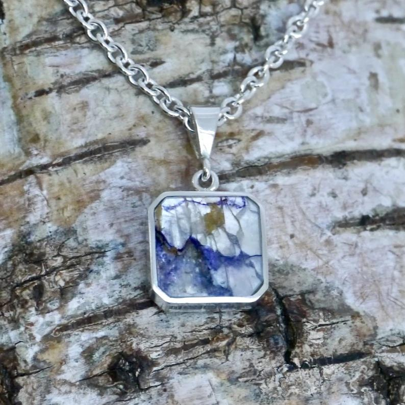 blue john silver pendant square design - handmade in the UK by Andrew Thomson