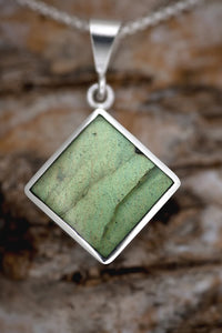 Blue John & Labradorite Double Sided Square Pendant