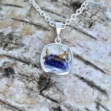 Load image into Gallery viewer, handmade silver blue john pendant by designer Andrew Thomson