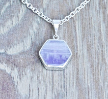 Load image into Gallery viewer, Amethyst & Turquoise Reversible Pendant Hexagon Design
