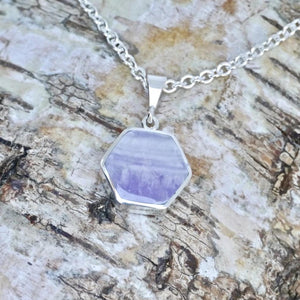 silver amethyst pendant handmade in the UK by designer Andrew Thomson