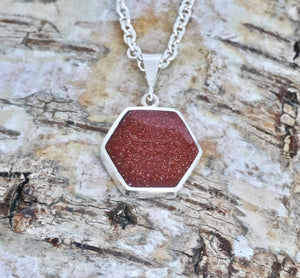 Goldstone & Whitby Jet Pendant Hexagon Design